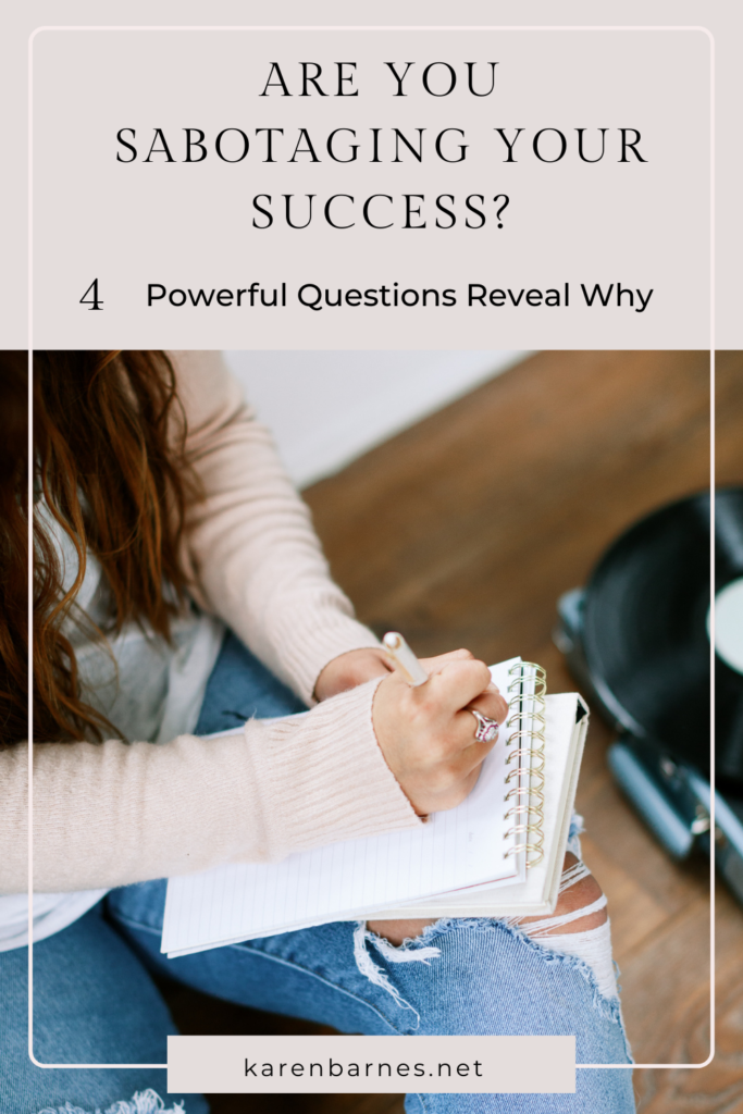 Woman writing down answers to reveal reasons for her sabotage